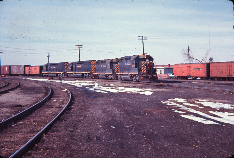D&RGW train moving from D&RGW yard to SP yard. February 1967. (Ryan Ballard Photo)
