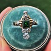 1.01ctw Victorian Emerald (syn) and Diamond Dinner Ring 18