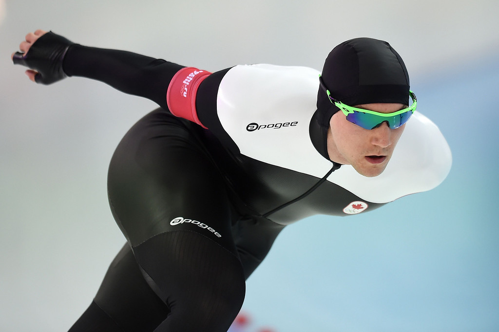 . Canada\'s Vincent de Haitre competes in the Men\'s Speed Skating 1500 m at the Adler Arena during the Sochi Winter Olympics on February 15, 2014.        JUNG YEON-JE/AFP/Getty Images