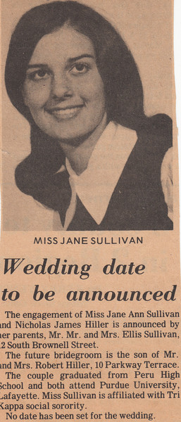 Newspaper Clipping - Jane Sullivan engaged to Nicholas Hiller.jpg