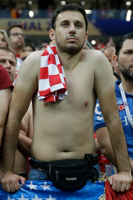 . A fan of Croatia after the final match against France at the 2018 soccer World Cup in the Luzhniki Stadium in Moscow, Russia, Sunday, July 15, 2018. (AP Photo/Natacha Pisarenko)