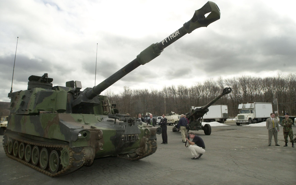 . A M109 self-propelled Howitzer cannon named Paladin is displayed during a 2003 media day tour at Picatinny Arsenal in Rockaway Township, N.J. The World of Tanks Cleveland Tank Plant Homecoming Military Show and Swap Meet will be at the I-X Center in Cleveland from June 22-24. For more information, visit ixclevelandtankshow.com.  (Associated Press file)