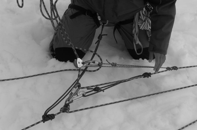 A 6-1 pully system. This setup is used for cravase rescue.