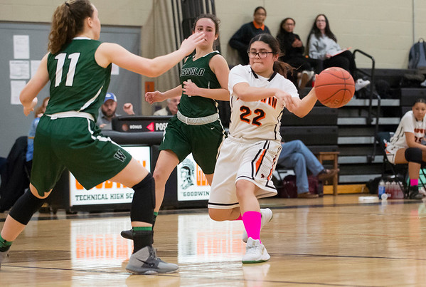 03/03/20 Wesley Bunnell | StaffrrThe EC Goodwin girls basketball team took on Griswold on Monday night March 3, 2020. Abneliz Alarno (22).