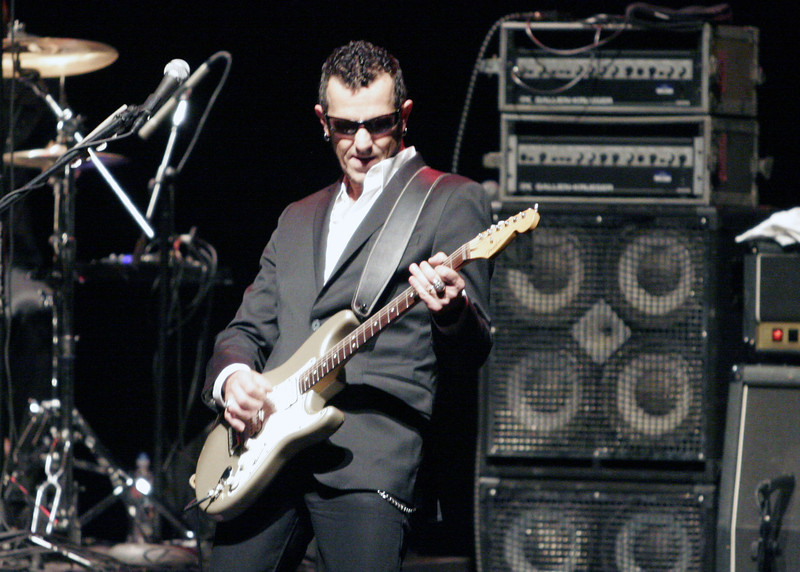 Gary Hoey rocks his guitar at the Blues Junction concert at the Visalia Fox theater on July 27, 2013.