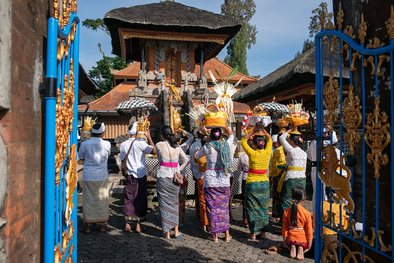 Worshipping in the temple at Pura Ulun Danu Beratan the famous water temple on Lake Bratan Bali