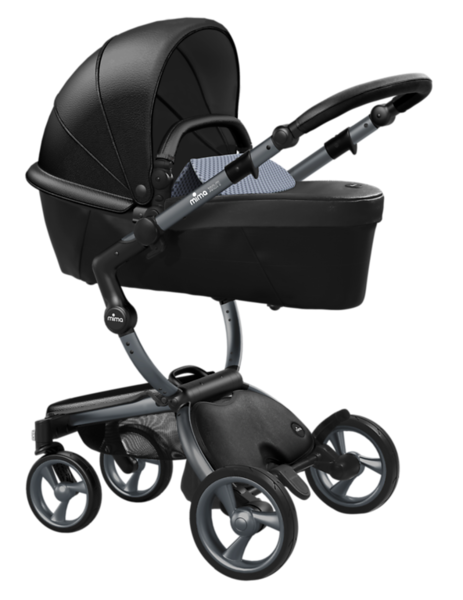 Mima_Xari_Product_Shot_Black_Flair_Graphite_Chassis_Retro_Blue_Carrycot.png