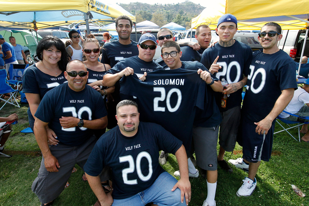 . Family and friends of Nevada running back Chris Solomon who played for West Covina High School before the UCLA-Nevada game at the Rose Bowl, Saturday, August 31, 2013. (Michael Owen Baker/L.A. Daily News)