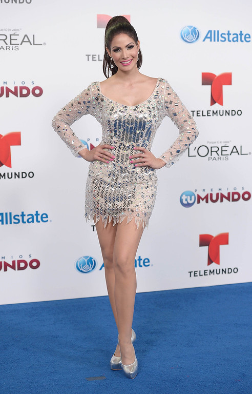 . MIAMI, FL - AUGUST 15:  Cynthia Olavarria arrives for Telemundo\'s Premios Tu Mundo Awards at American Airlines Arena on August 15, 2013 in Miami, Florida.  (Photo by Gustavo Caballero/Getty Images)
