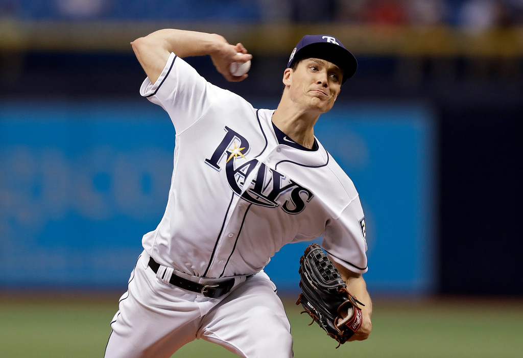 . Tampa Bay Rays pitcher Tyler Glasnow delivers to the Cleveland Indians during the first inning of a baseball game Tuesday, Sept. 11, 2018, in St. Petersburg, Fla. (AP Photo/Chris O\'Meara)