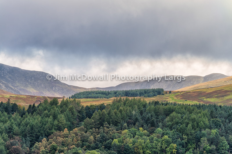 Scottish Hilldide above Crieff in Scotland before it rained