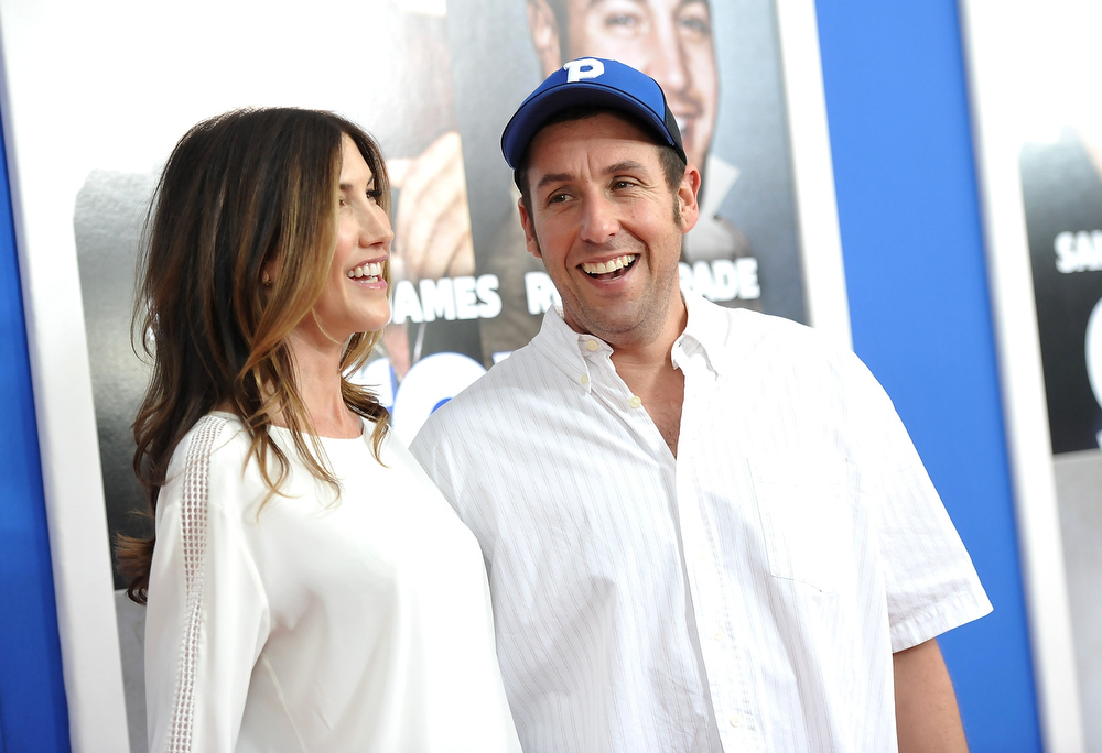 ". Actor Adam Sandler and wife Jackie attend the premiere of ""Grown Ups 2\"" at the AMC Loews Lincoln Square on Wednesday, July 10, 2013 in New York. (Photo by Evan Agostini/Invision/AP)"