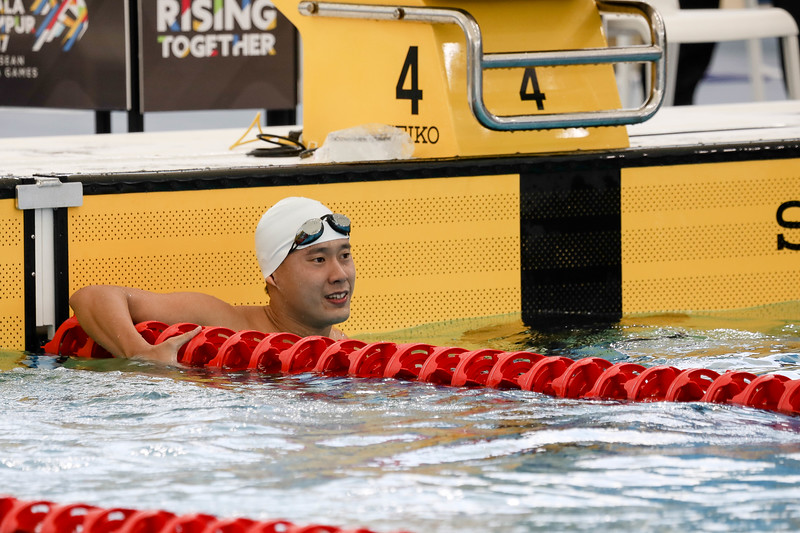 PARA SWIMMING - BENSON SENG KIONG TAN in action & representing Singapore in Men's 100 LC Meter Freestyle S14  Finals at Aquatics Centre, KL on September 18th, 2017 (Photo by Sanketa Anand)