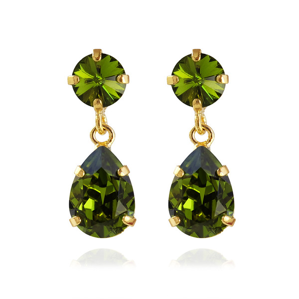 Mini Drop Earrings / Olivine Gold