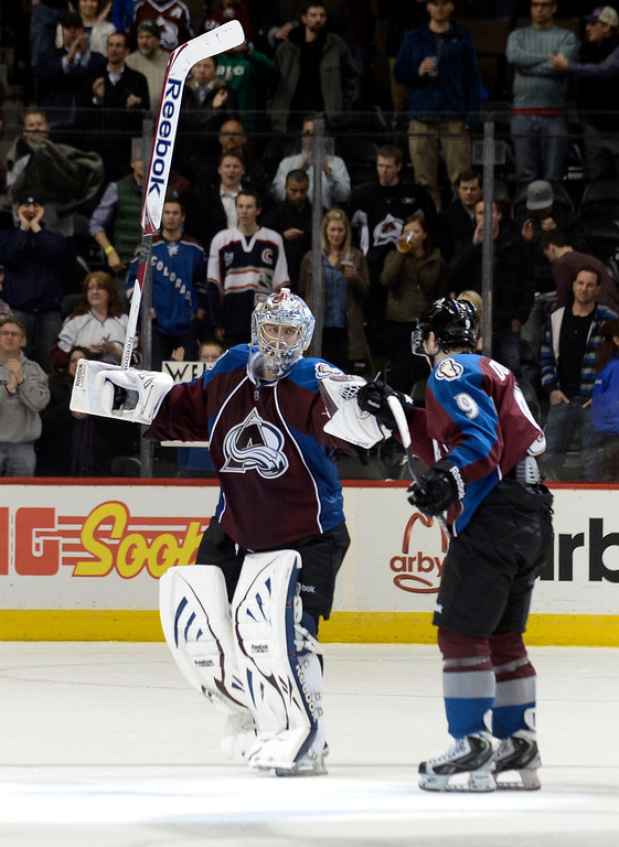 . DENVER, CO. - JANUARY 24: Colorado Avalanche goalie Semyon Varlamov (1) gets a fist bump from Colorado Avalanche center Matt Duchene (9) after shutting out the Columbus Blue Jackets 4-0 January 24, 2013 at Pepsi Center. The Colorado Avalanche are on a two game win streak.  (Photo By John Leyba / The Denver Post)