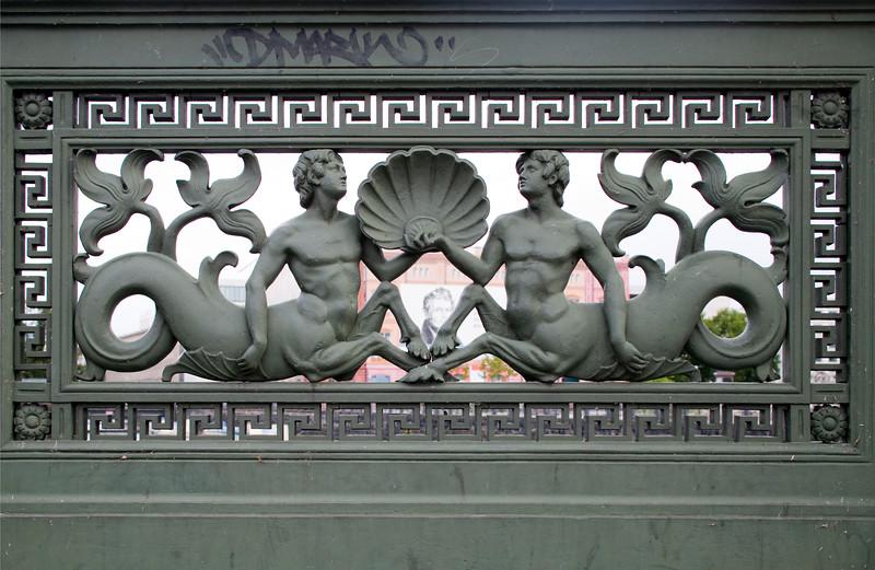 Mythological figures as ornament of Schlossbrücke (Palace Bridge) over the Spree river, Berlin, Germany