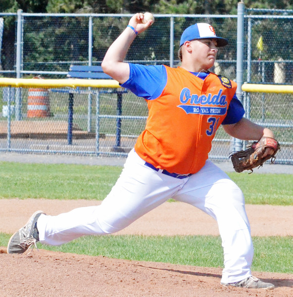 KYLE MENNIG - ONEIDA DAILY DISPATCH Oneida Post's Sam DiGeorge delivers a pitch to a Clinton County batter during their game in the American Legion Junior Baseball state tournament in Rome on Friday, July 29, 2016.