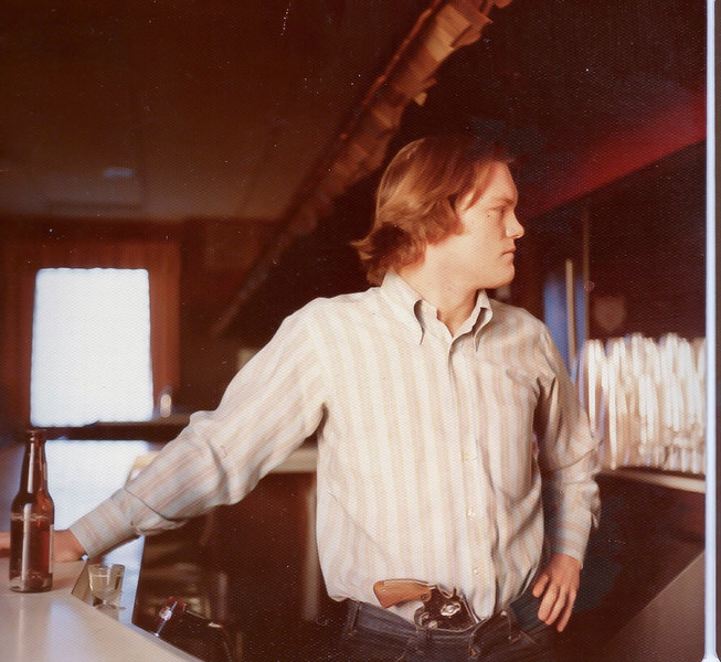 1976 Jim tending bar,  10th Ward Democratic Club Chicago, Ill