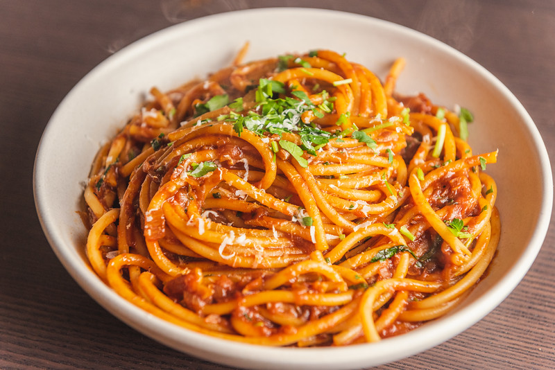 caramelized shallot pasta with buccatini