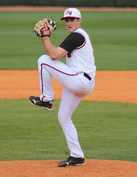 #5 Matt Liedberg closed the game for the Diamond 'Dogs, sealing the 12-7 victory for the GWU squad.