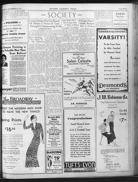 Daily Trojan, Vol. 23, No. 52, November 25, 1931