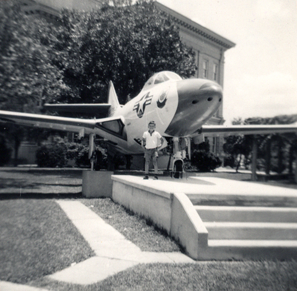 THE PANTHER AND ME Here I am in front of a Grumman F9F Panther on display in the square in Beeville, TX, in 1958. This is the earliest photo I have of me and an airplane, and you can see I'm loving it. This is still one of my favorite planes, with such clean and efficient lines.