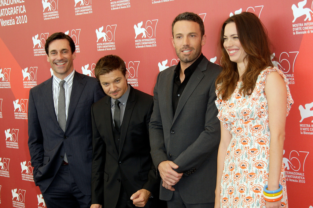 . From left, Jon Hamm, Jeremy Renner, Ben Affleck and Rebecca Hall pose at the photo call for the film The Town at the 67th edition of the Venice Film Festival in Venice, Italy, Wednesday, Sept. 8, 2010. (AP Photo/Joel Ryan)