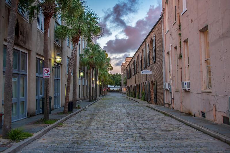 Cobblestone Street in Charleston SC, near Waterfront Park
