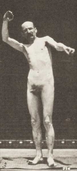 Nude man standing and moving arms