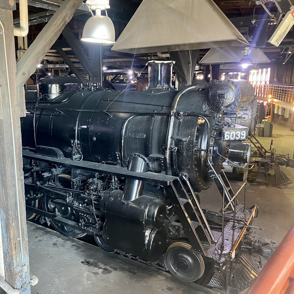 engine 6039 inside the shop at Steamtown national historical site - scranton pennsylvania