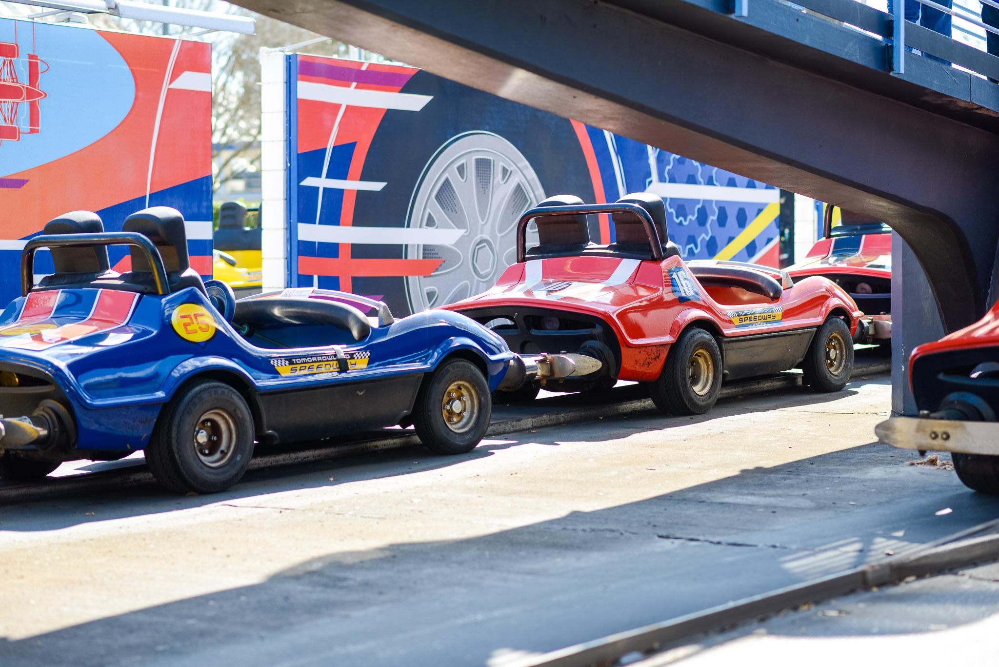 Tomorrowland Speedway 3 Lanes Open - Walt Disney World Magic Kingdom