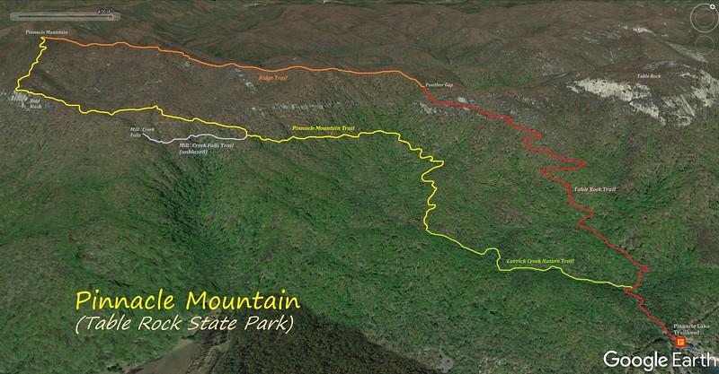 Pinnacle Mountain Hike Route Map