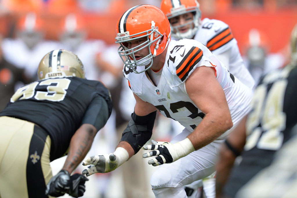 . Cleveland Browns tackle Joe Thomas blocks during an NFL football game against the New Orleans Saints Sunday, Sept. 14, 2014, in Cleveland. Cleveland won 26-24. (AP Photo/David Richard)