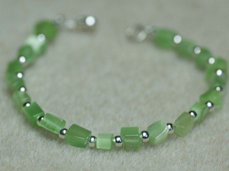 Green Cats Eye Chunks with Silver Beads