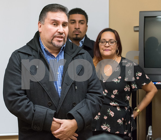 11/29/17 Wesley Bunnell | Staff State Representative Robert Sanchez speaks during a press conference held Wednesday evening at HRA on Oak St to address allegedly racial comments made by former mayor and current president of the Chamber of Commerce Tim Stewart. The comment was left in reply to a Facebook post by Anette Velez, R.