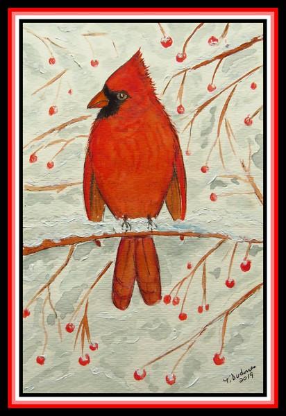 1-Cardinal, 6x9, watercolor, acrylic, ink, jan 10, 2019. gift to Gwen Bambard, Saranac Lake, NY feb 2019.