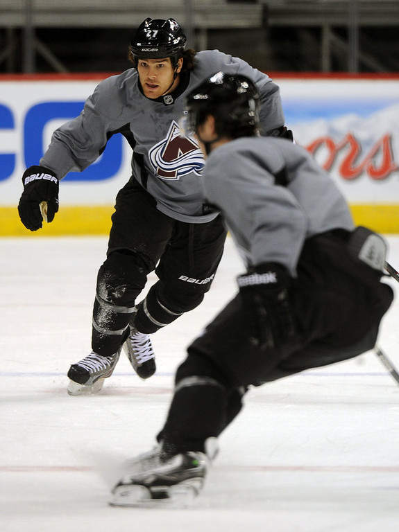 . Colorado Avalanche player Steve Downie, #27, moves his way up the ice during practice January  17th, 2013.The Colorado Avalanche hit the ice for the first time this season at the Pepsi Center.  After long months of contract negotiations the season has finally started. Helen H. Richardson, The Denver Post