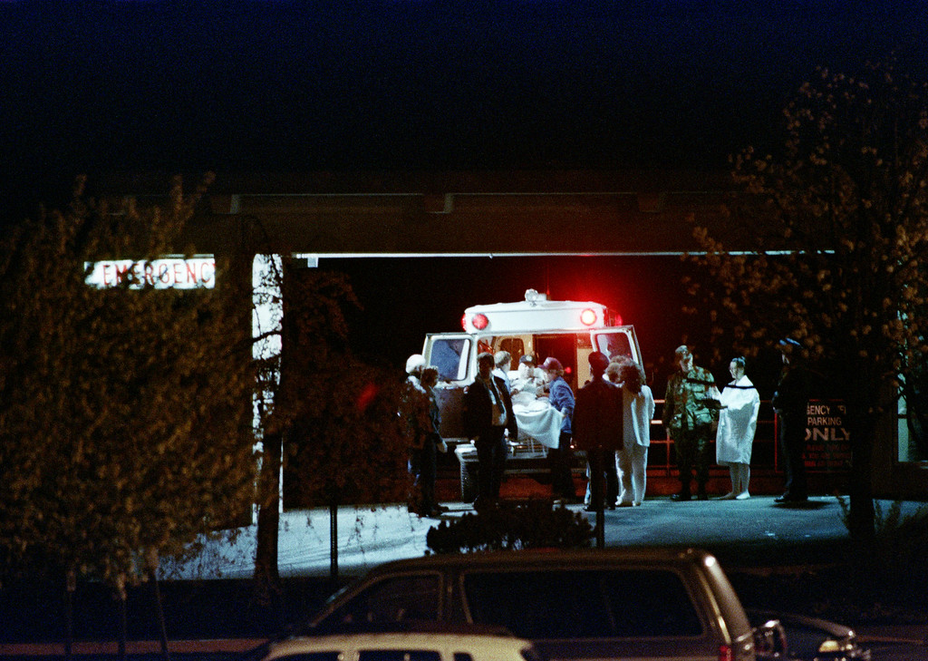 . A released hostage is removed from an ambulance at a hospital in Portsmouth, Ohio, at the end of a ten day siege at the Southern Ohio Correctional Facility in Lucasville, April 21, 1993. (AP Photo/Al Behrman)
