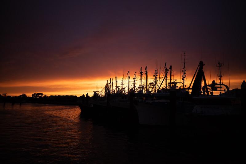 Sun rises over fishing fleet in Port Lincoln