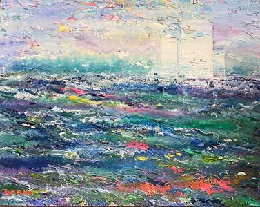 """""""Across the Water"""" (oil on wood) by Joel Barr"""