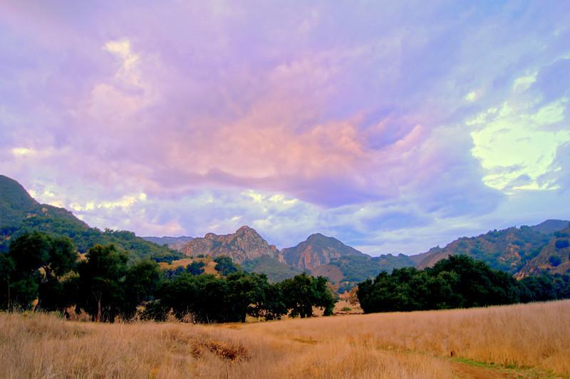 HDR Socal Malibu Landscapes: Purple Clouds Over Mountain Range