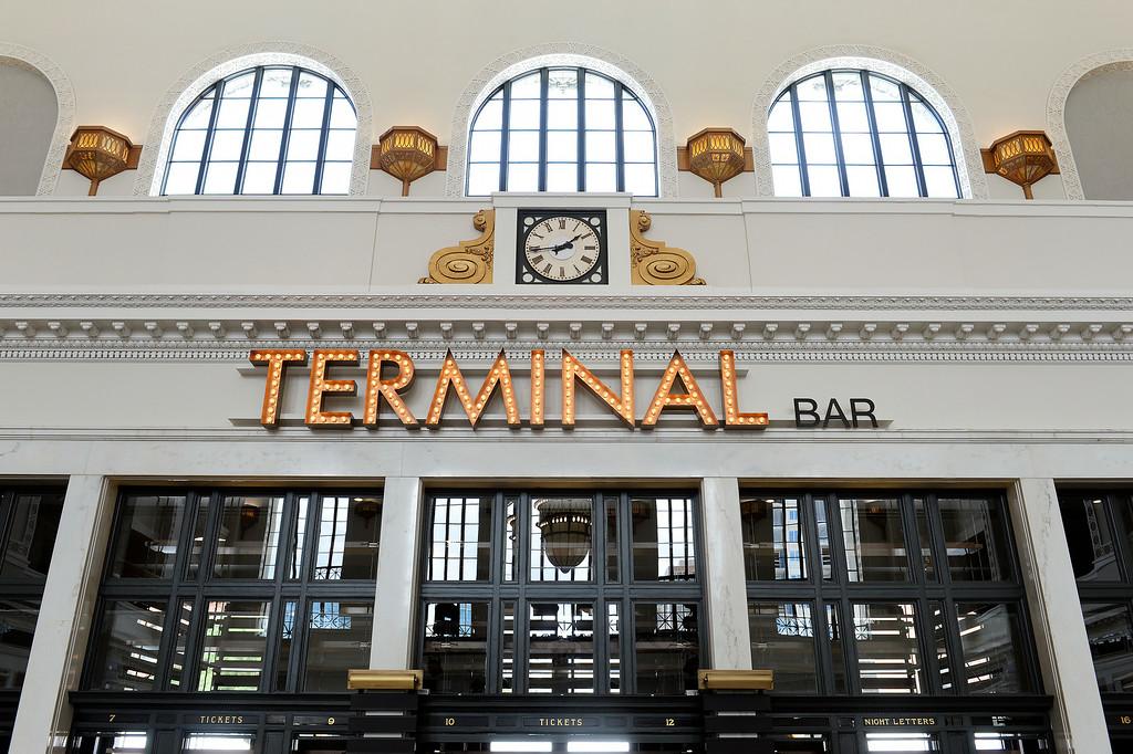 . DENVER, CO - JULY 10:   Denver\'s  renovated Union Station will soon reopen. They showed off some of the refurbish Great Hall on Thursday, July 10, 2014. At one end of the hall is the Terminal Bar.    (Denver Post Photo by Cyrus McCrimmon)
