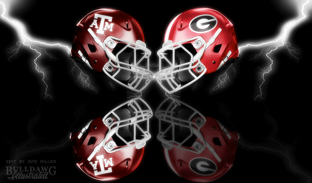 Georgia vs. Texas A&M 2019 helmet graphic edit with WONDER by Bob Miller