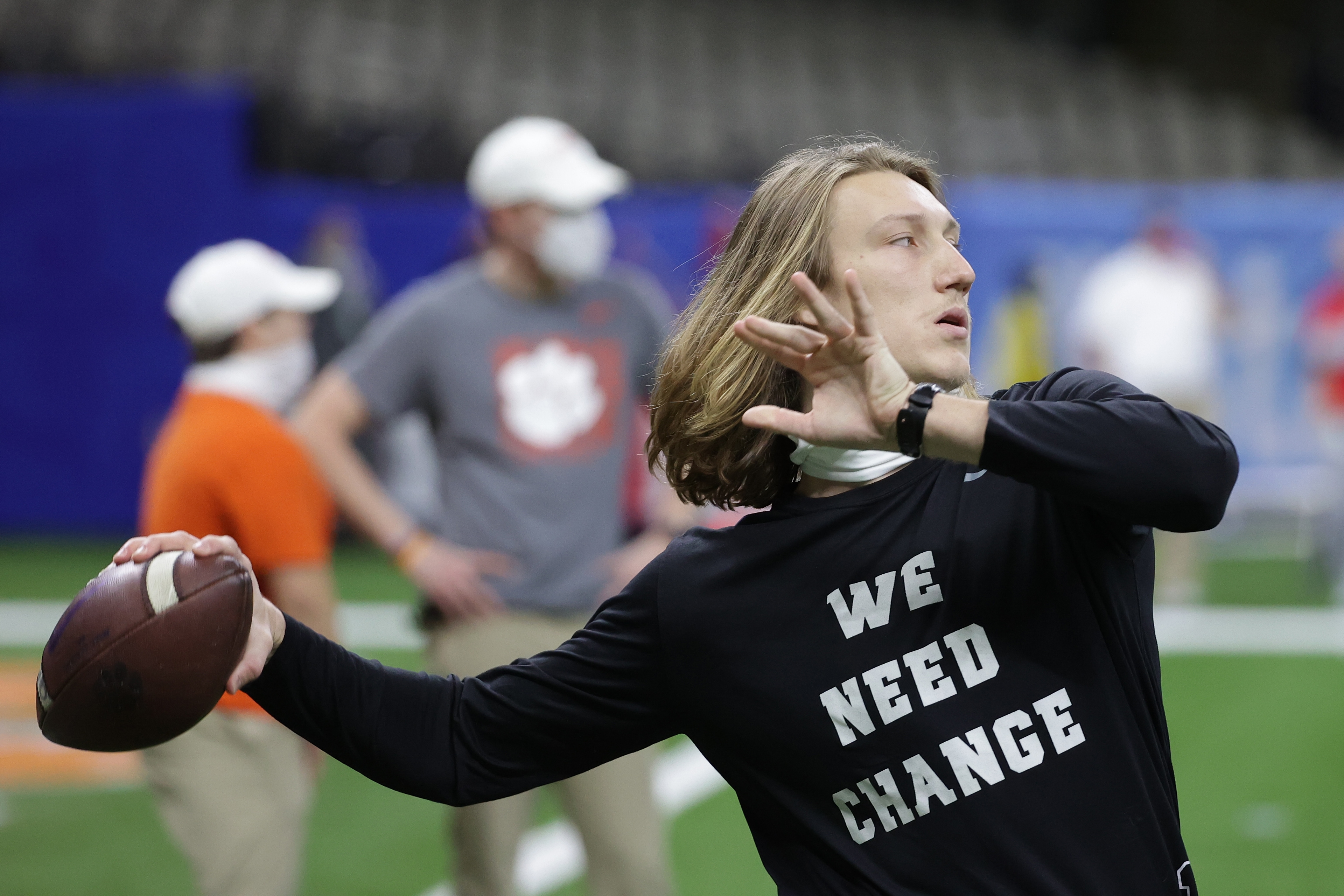 Jan 1, 2021; New Orleans, LA, USA; Clemson Tigers quarterback Trevor Lawrence (16) warms up prior to the game against the Ohio State Buckeyes at Mercedes-Benz Superdome. Mandatory Credit: Derick E. Hingle-USA TODAY Sports