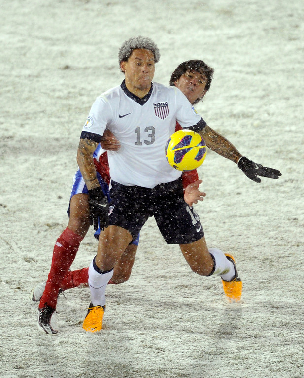 . COMMERCE CITY, CO. - MARCH 22: United States midfielder Jermaine Jones (13) went for the ball in the first half. The U.S. Men\'s National Soccer Team hosted Costa Rica Friday night, March 22, 2013 in a FIFA World Cup qualifier at Dick\'s Sporting Goods Park in Commerce City.  (Photo By Karl Gehring/The Denver Post)
