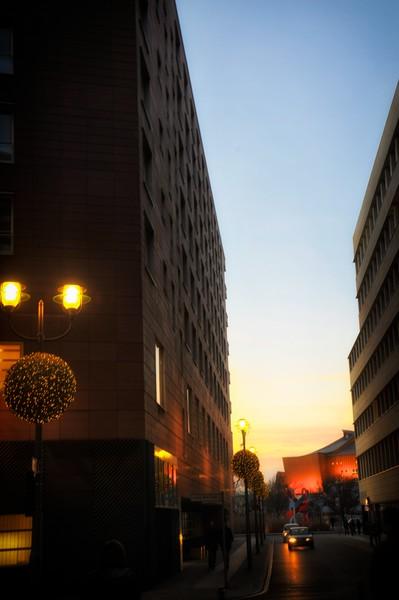 Dusk near Grand Hyatt Hotel, Potsdamer Platz, Berlin.