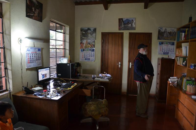 Don Julio in Luky's dad's office at Finca la Folie