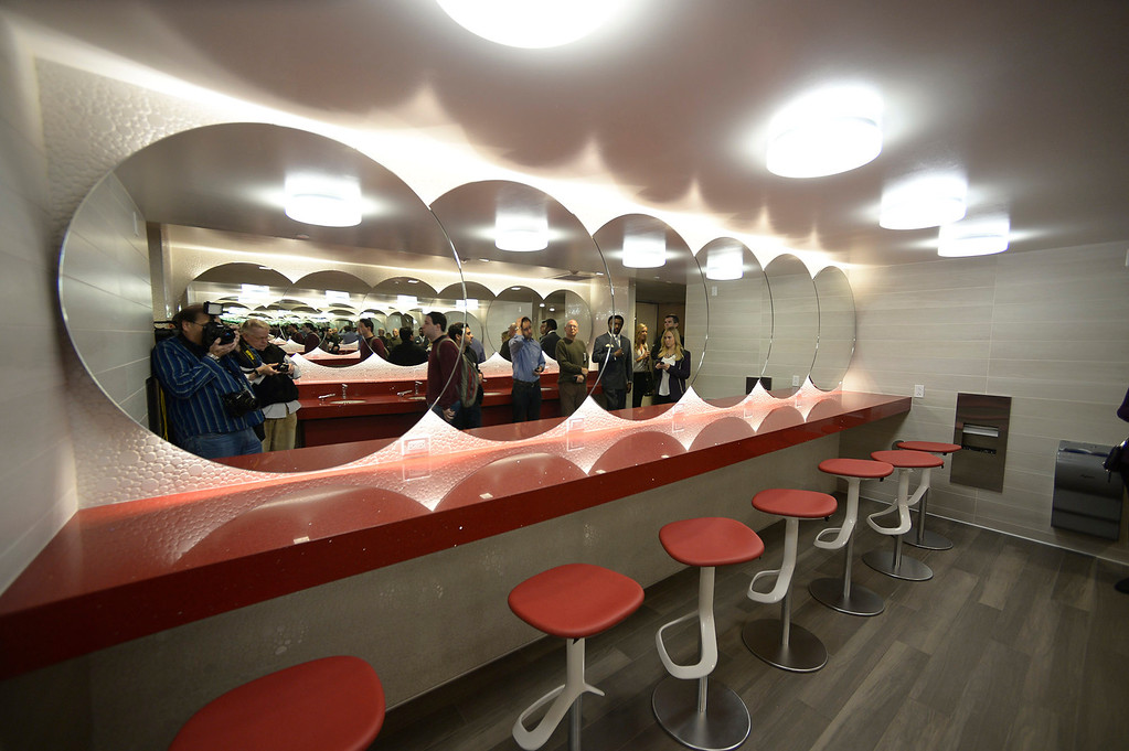 . This women\'s locker room area is complete with individual stations. Heritage Hall, which houses USC\'s athletic department, has been closed for the past year while undergoing a $35-million renovation.  The building first opened in 1971 at a cost of $2.8 million and was originally 48,000 square feet. It now is 80,000 square feet. As part of the renovation, Heritage Hall\'s two-story lobby has been transformed into a state-of-the-art museum space featuring interactive displays. Heritage Hall also includes a sports performance center, a broadcast studio, a lounge for Women of Troy student-athletes, a rowing ergometer room and an indoor golf driving area, plus new locker rooms, meeting rooms, equipment room and event space.   Los Angeles , CA. January 30, 2014 (Photo by John McCoy / Los Angeles Daily News)