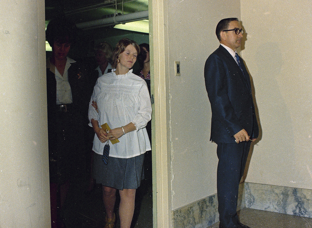 . Linda Kasabian, cult member involved in the Tate-LaBianca murder case is seen in custody, 1969.  (AP Photo)