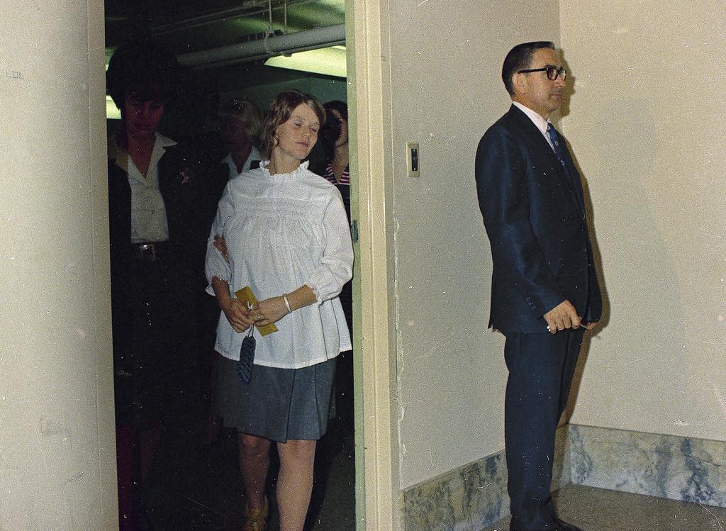 . Linda Kasabian, cult member involved in the Tate-LaBianca murder case is seen in custody, 1969.  (AP Photo)